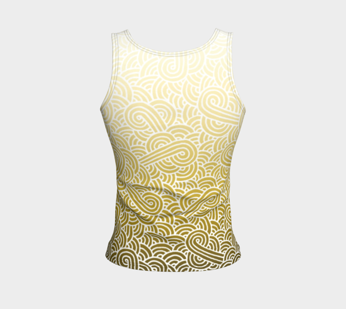 Ombre yellow and white swirls doodles Fitted Tank Top preview #2