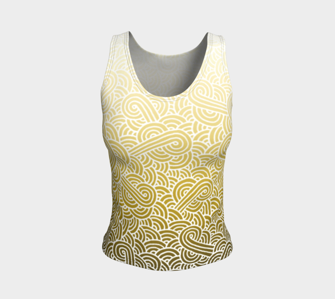 Ombre yellow and white swirls doodles Fitted Tank Top preview #1