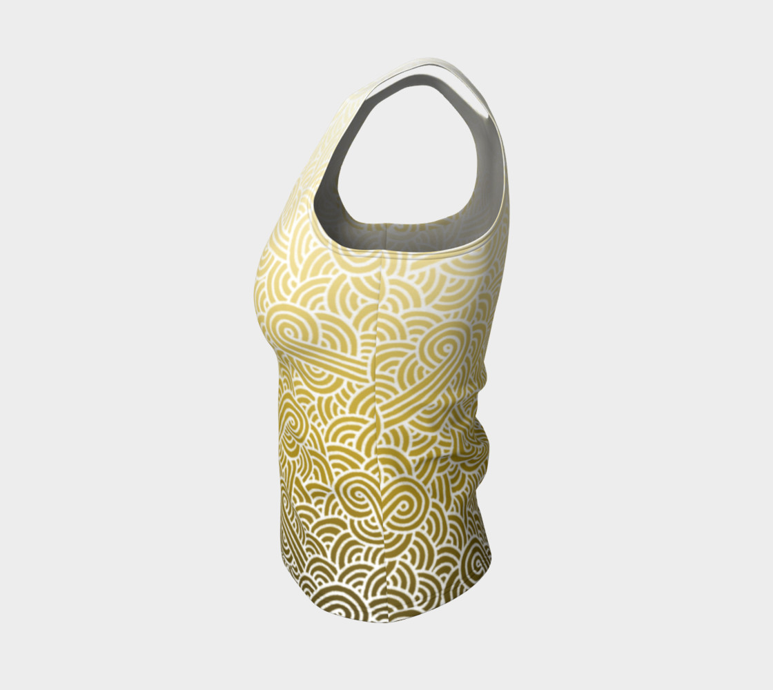 Ombre yellow and white swirls doodles Fitted Tank Top preview #3