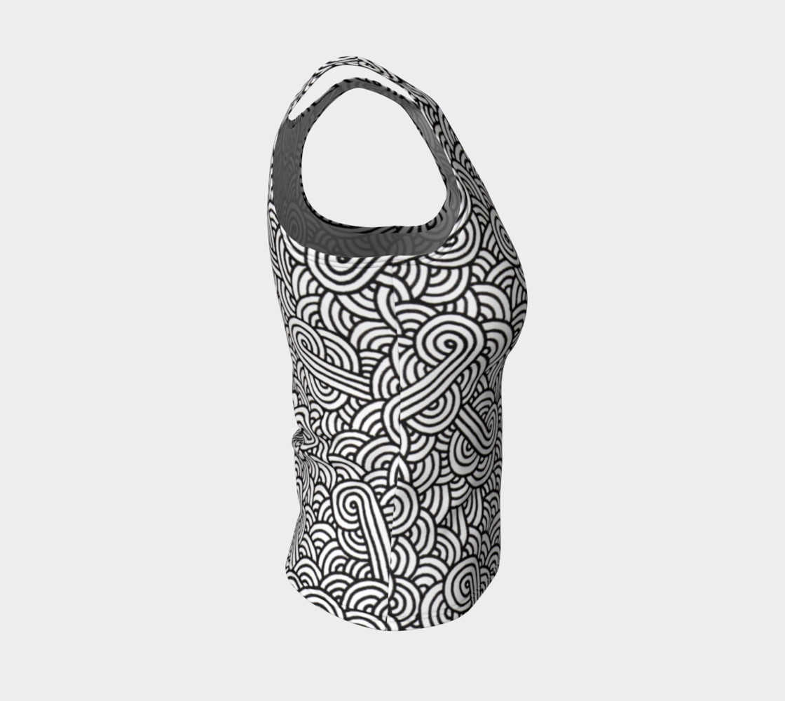 Aperçu de Black and white swirls doodles Fitted Tank Top #4