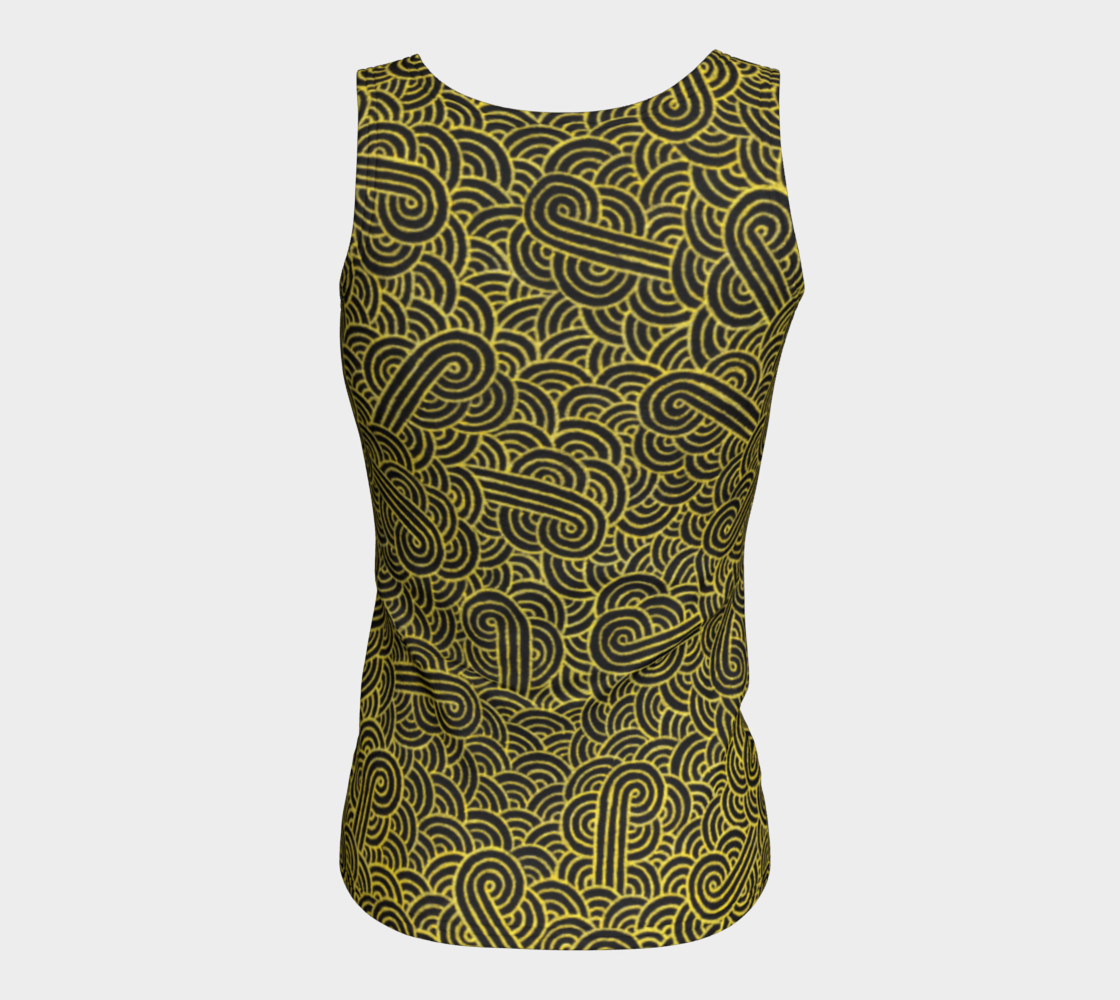 Faux gold and black swirls doodles Fitted Tank Top preview #6