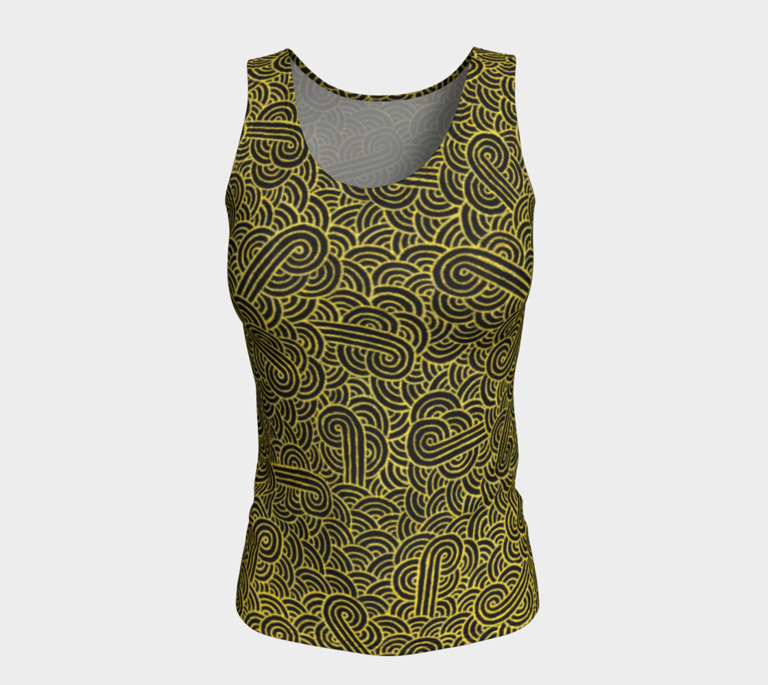 Faux gold and black swirls doodles Fitted Tank Top preview #5