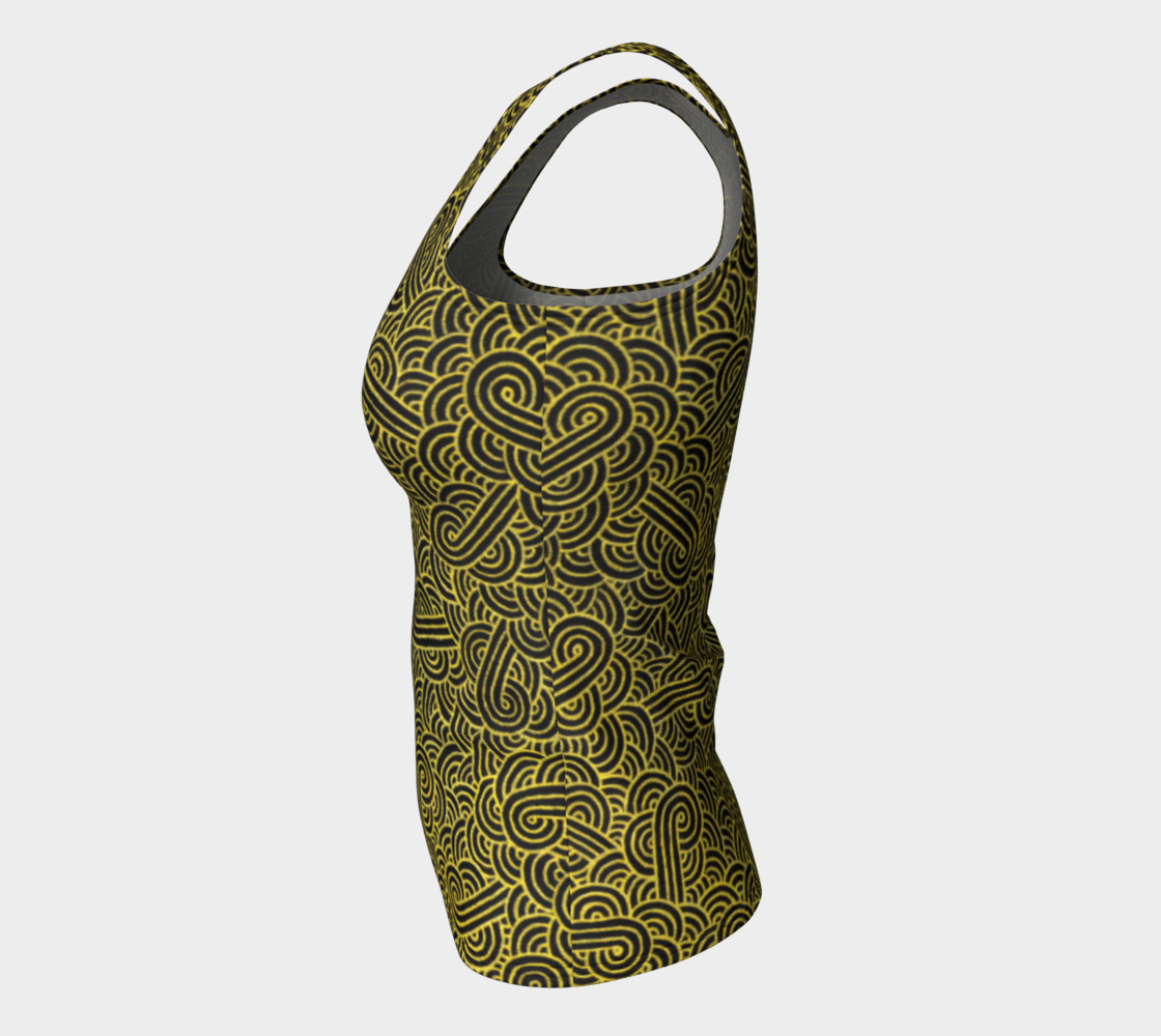 Faux gold and black swirls doodles Fitted Tank Top preview #7