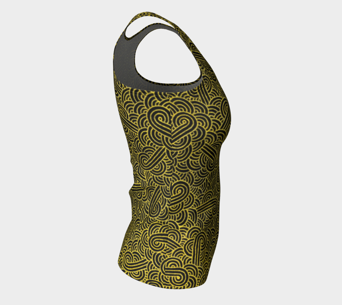 Faux gold and black swirls doodles Fitted Tank Top preview #8