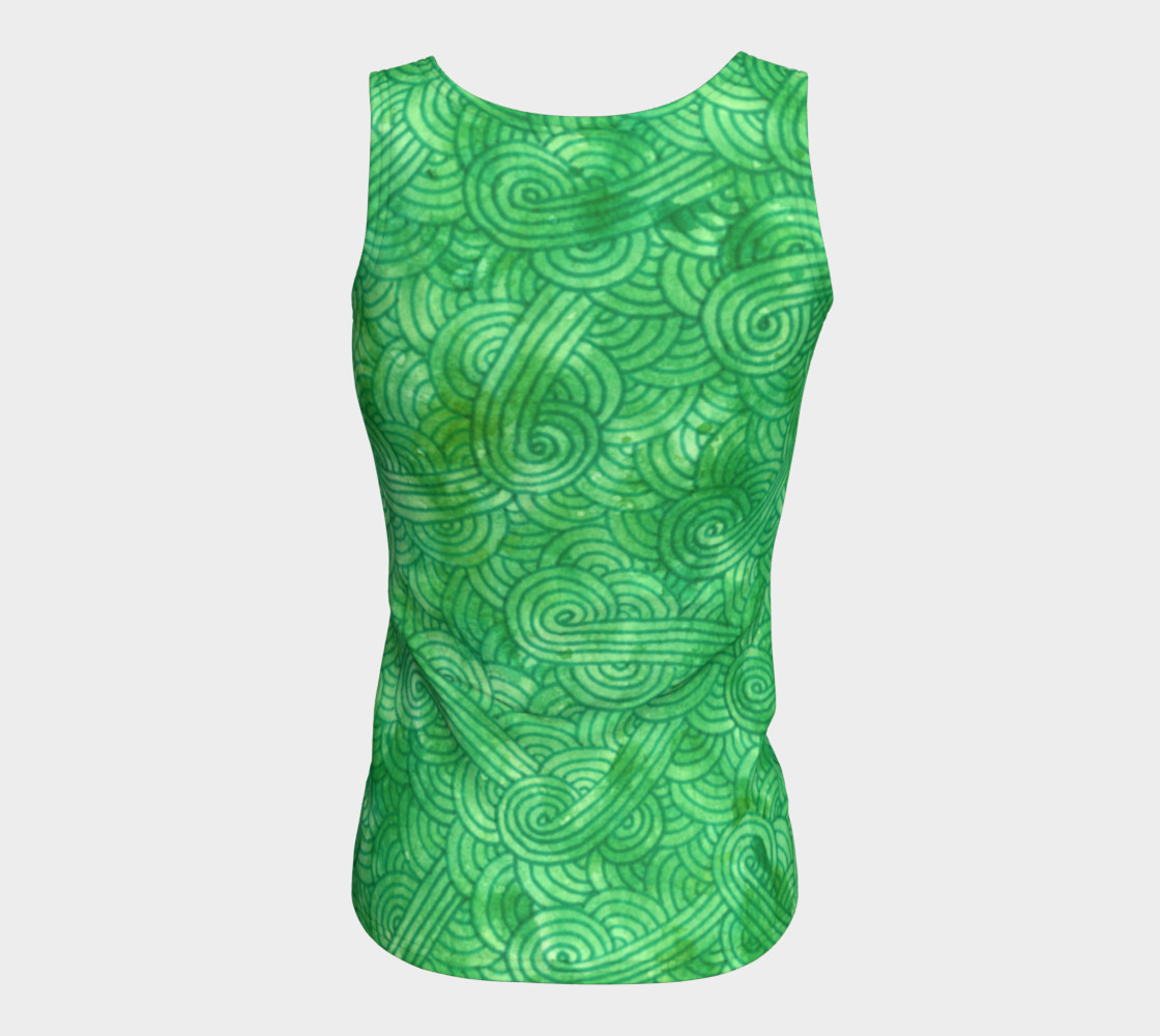 Green swirls doodles Fitted Tank Top preview #6