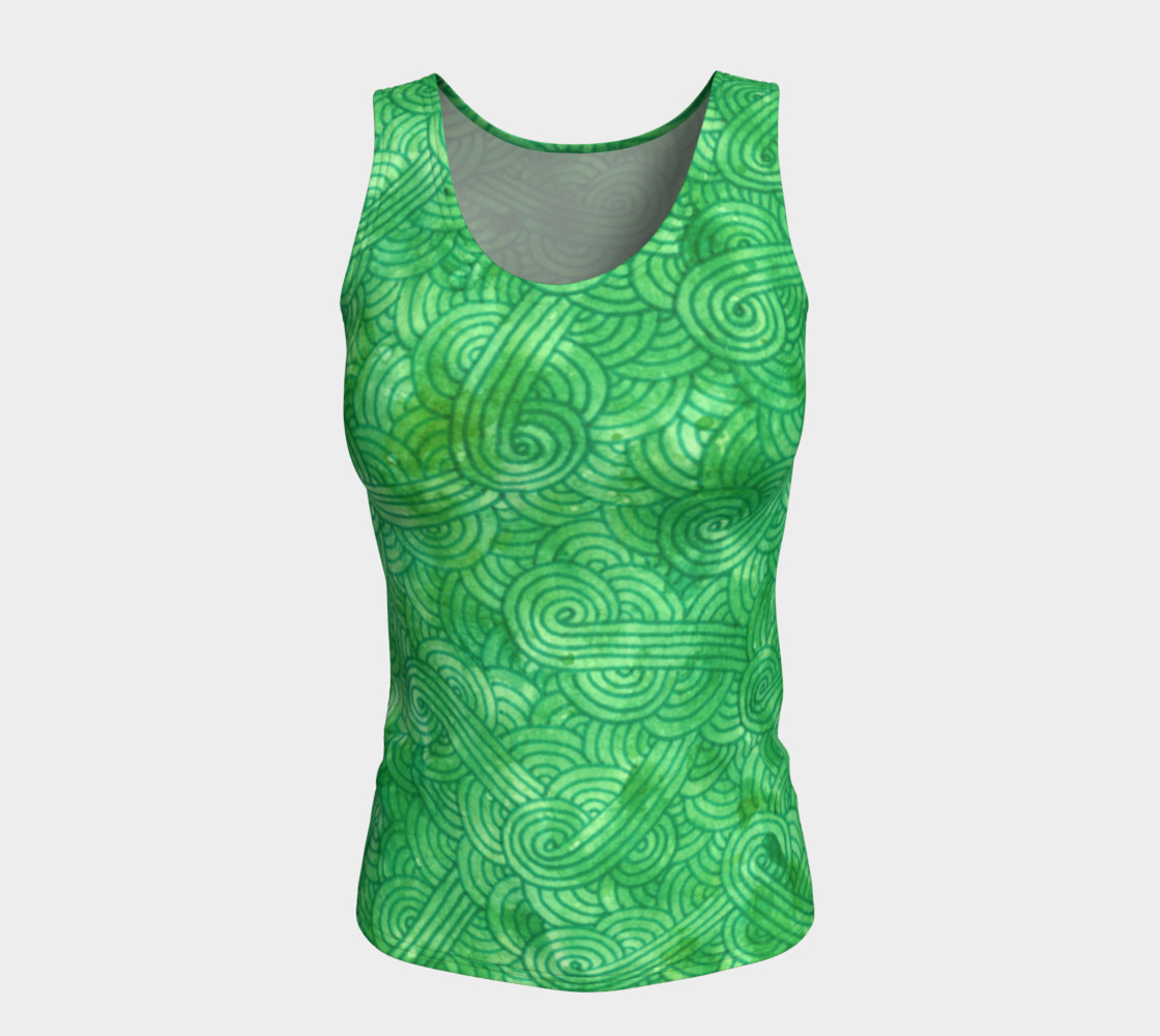 Green swirls doodles Fitted Tank Top preview #5