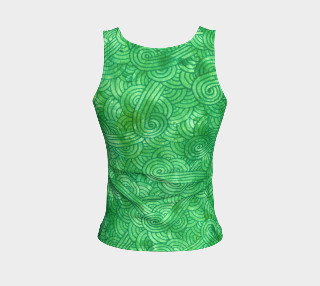 Green swirls doodles Fitted Tank Top preview #2