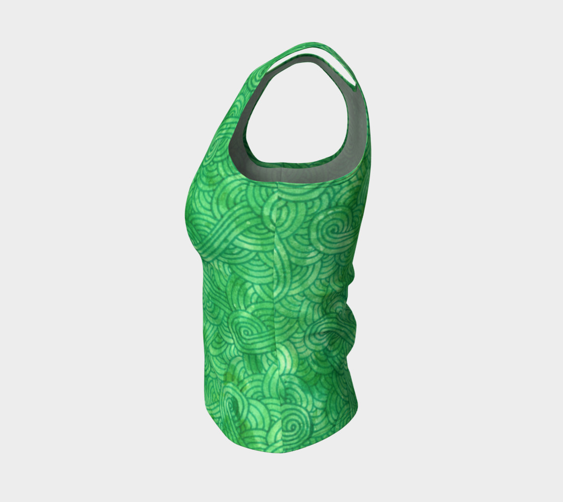 Green swirls doodles Fitted Tank Top preview #3