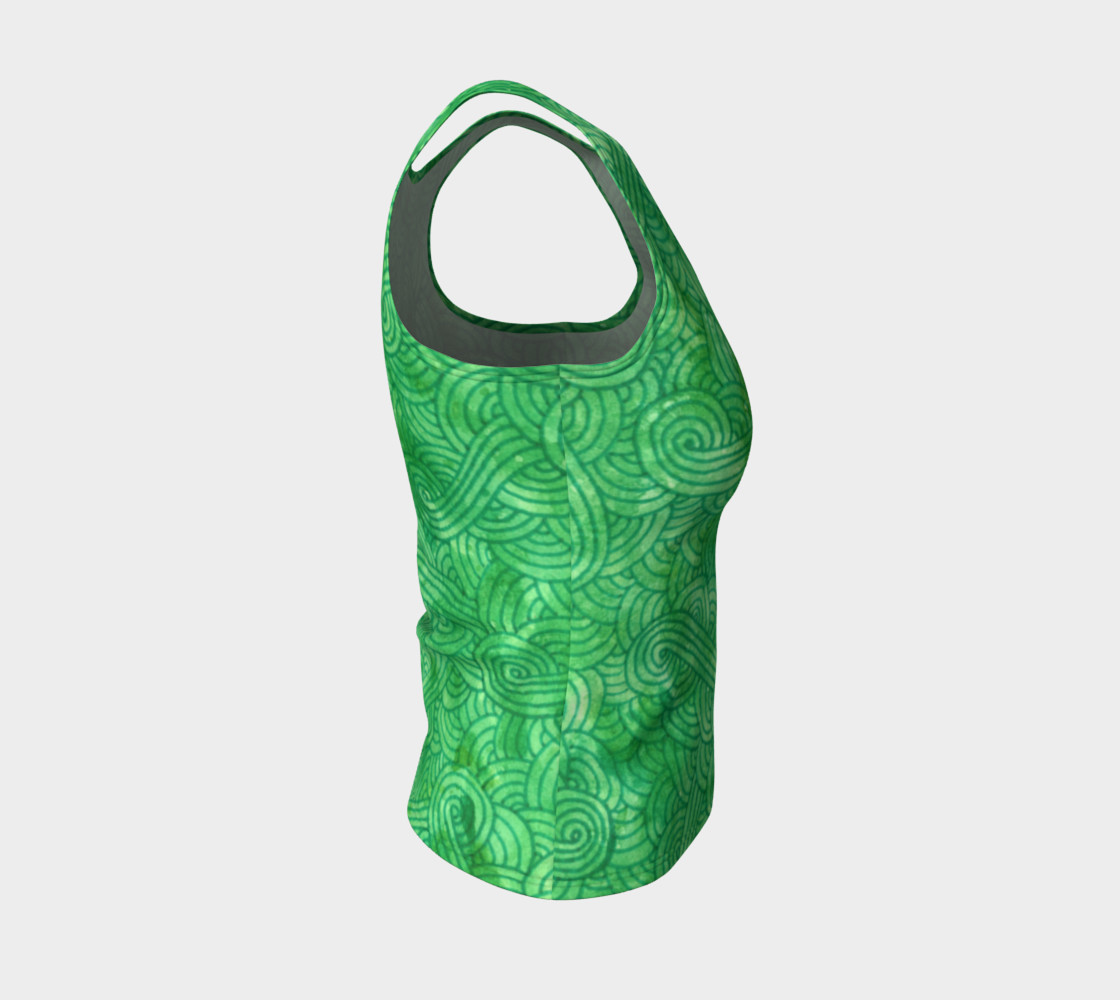 Green swirls doodles Fitted Tank Top preview #4