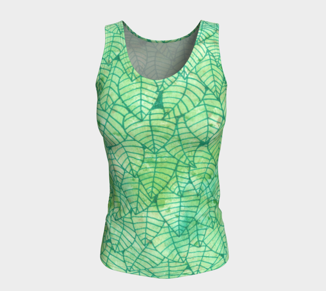 Green foliage Fitted Tank Top preview #5