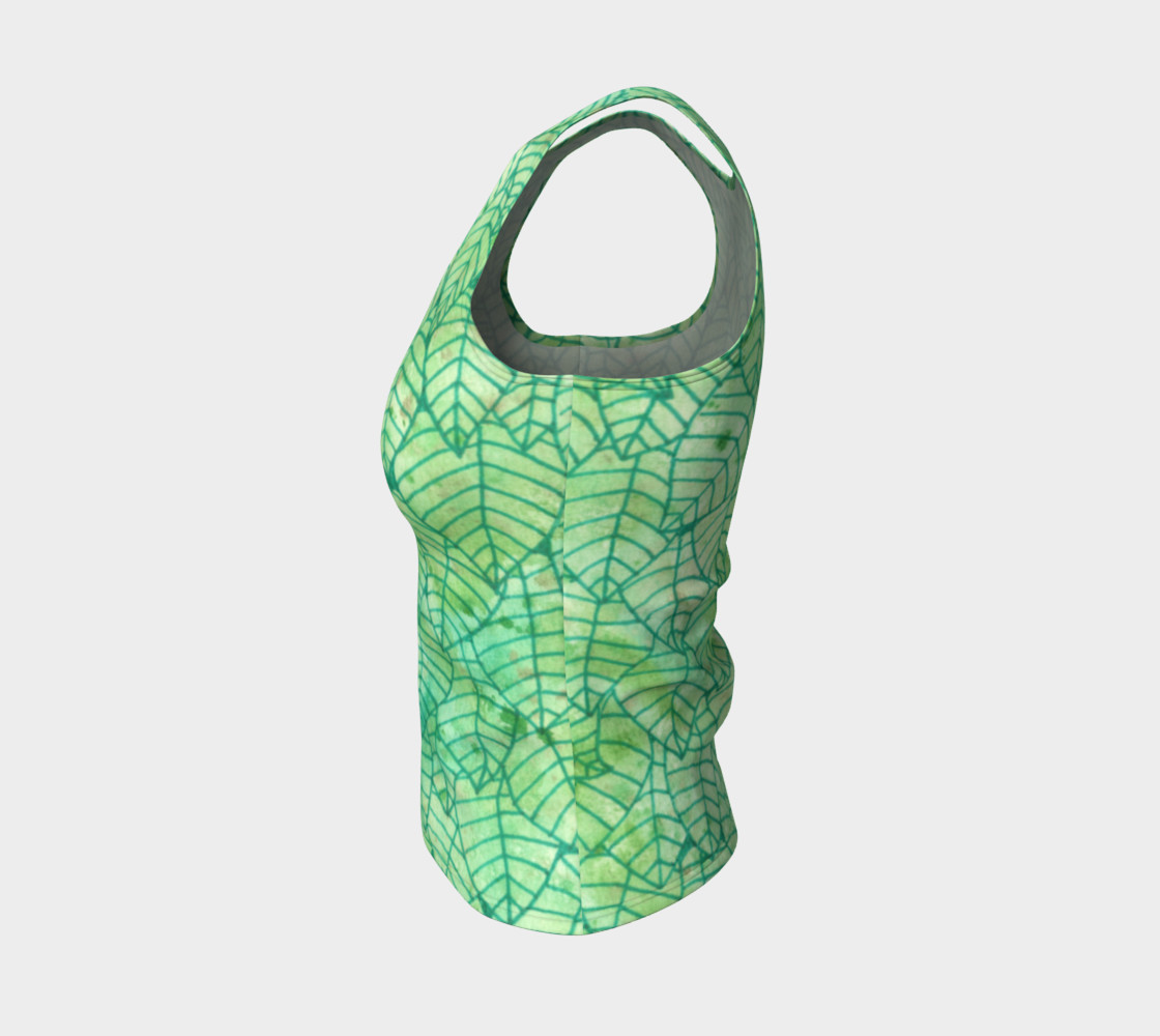 Green foliage Fitted Tank Top preview #3