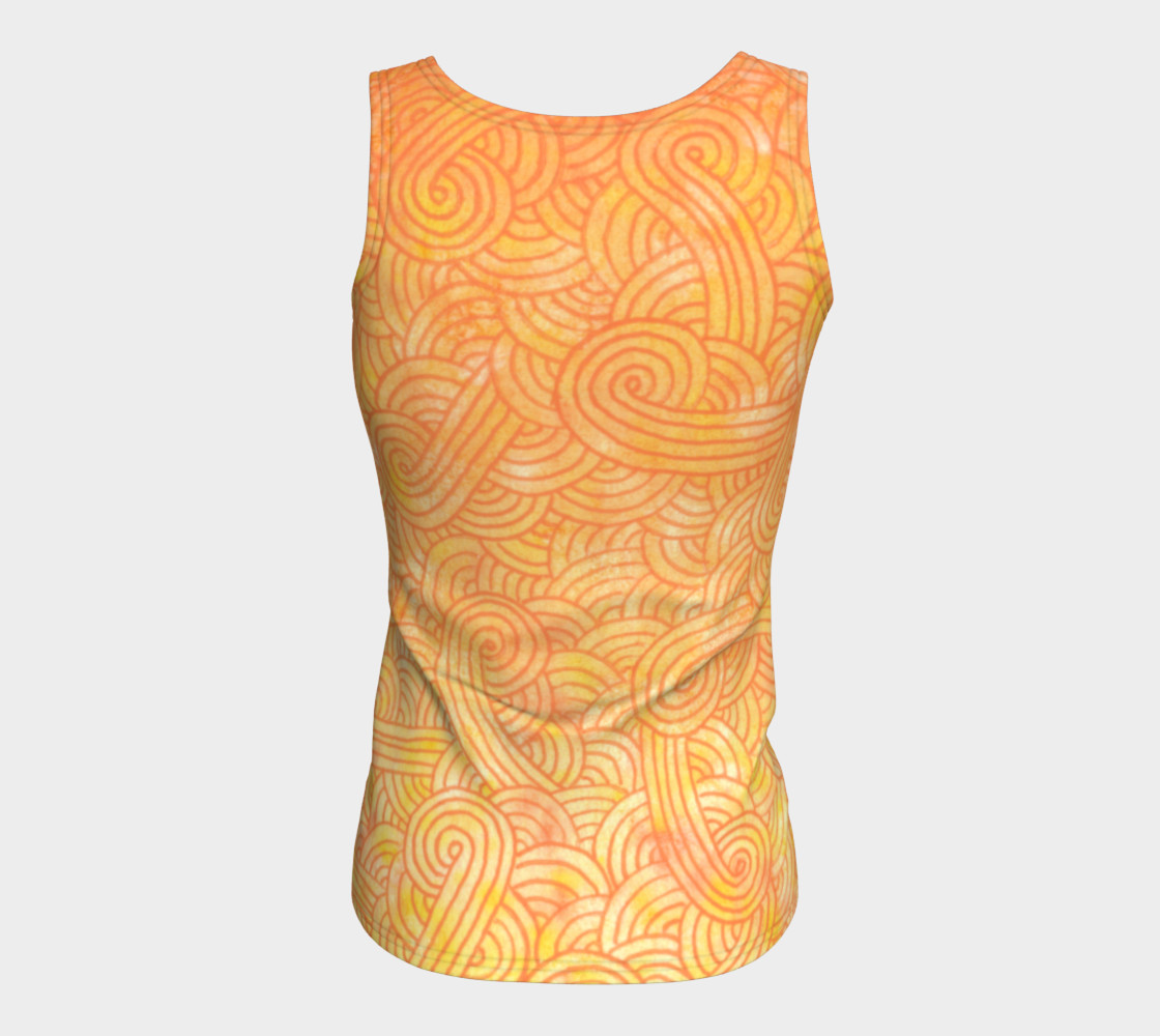 Yellow and orange swirls doodles Fitted Tank Top preview #6