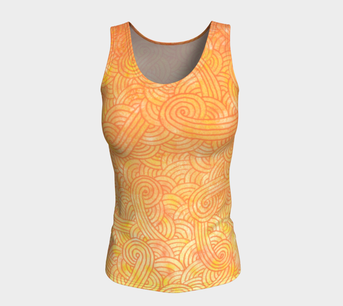 Yellow and orange swirls doodles Fitted Tank Top preview #5