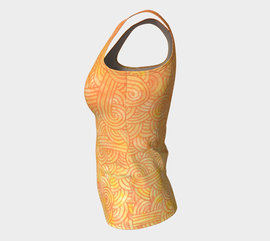 Yellow and orange swirls doodles Fitted Tank Top preview #7