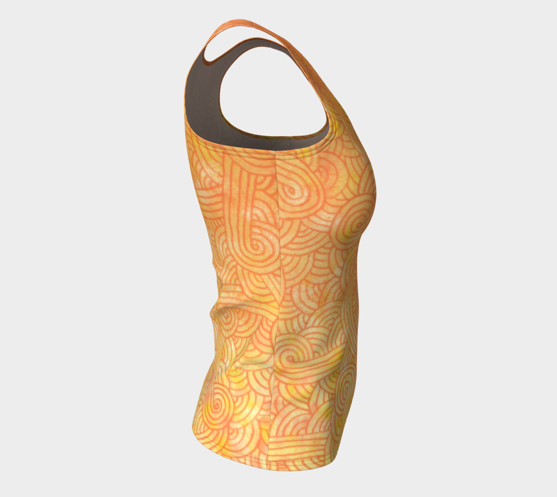 Yellow and orange swirls doodles Fitted Tank Top preview #8