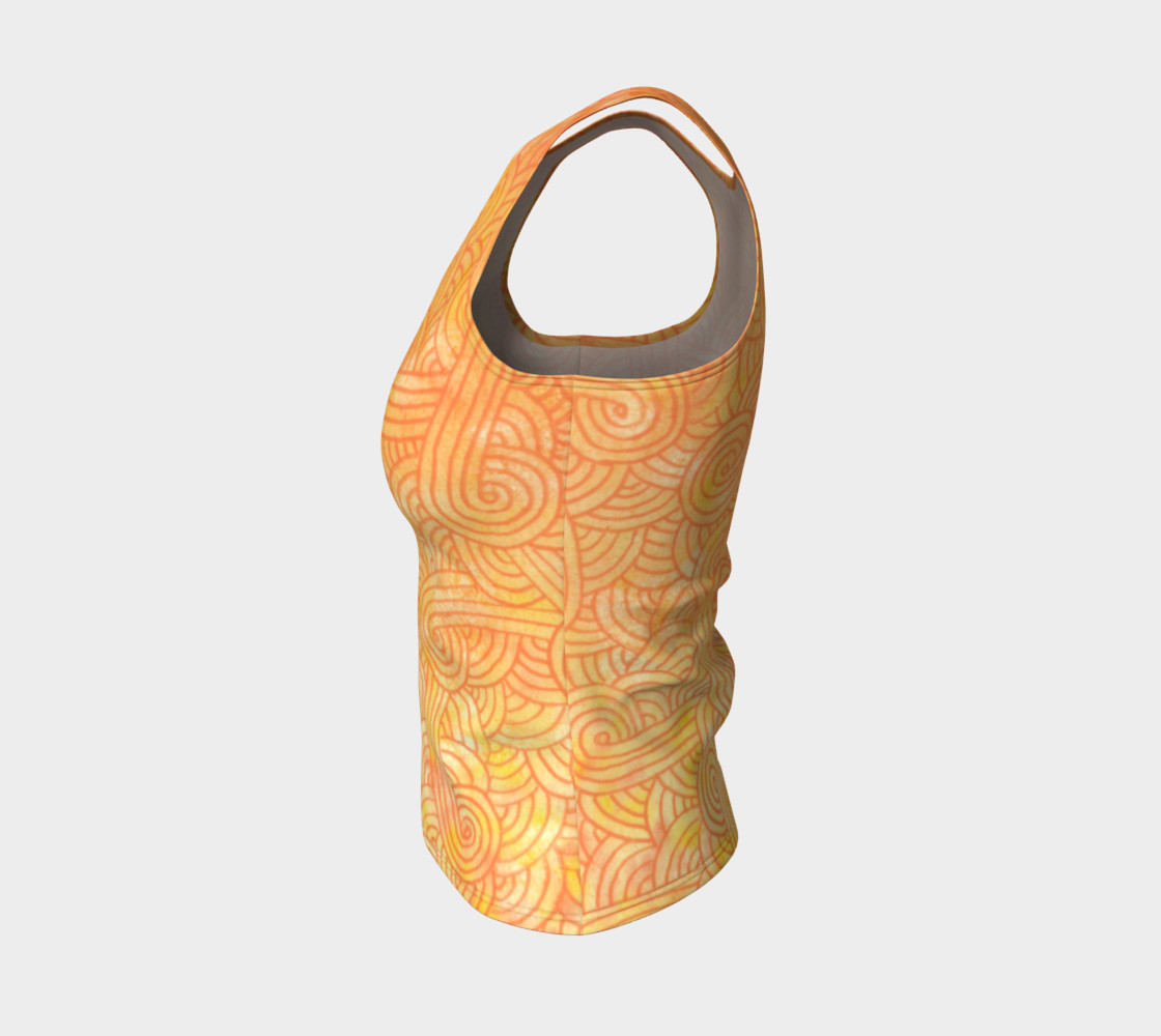Yellow and orange swirls doodles Fitted Tank Top preview #3