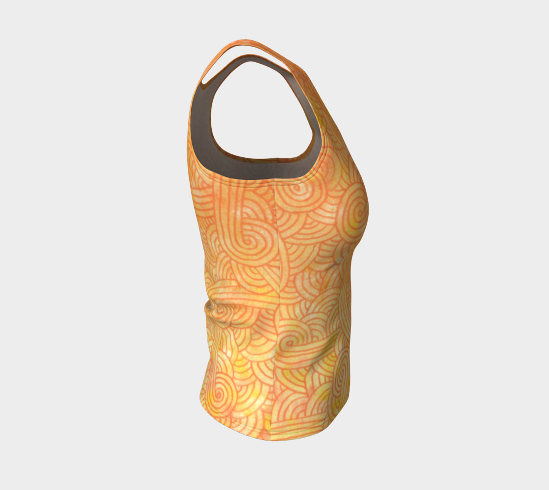Yellow and orange swirls doodles Fitted Tank Top preview #4