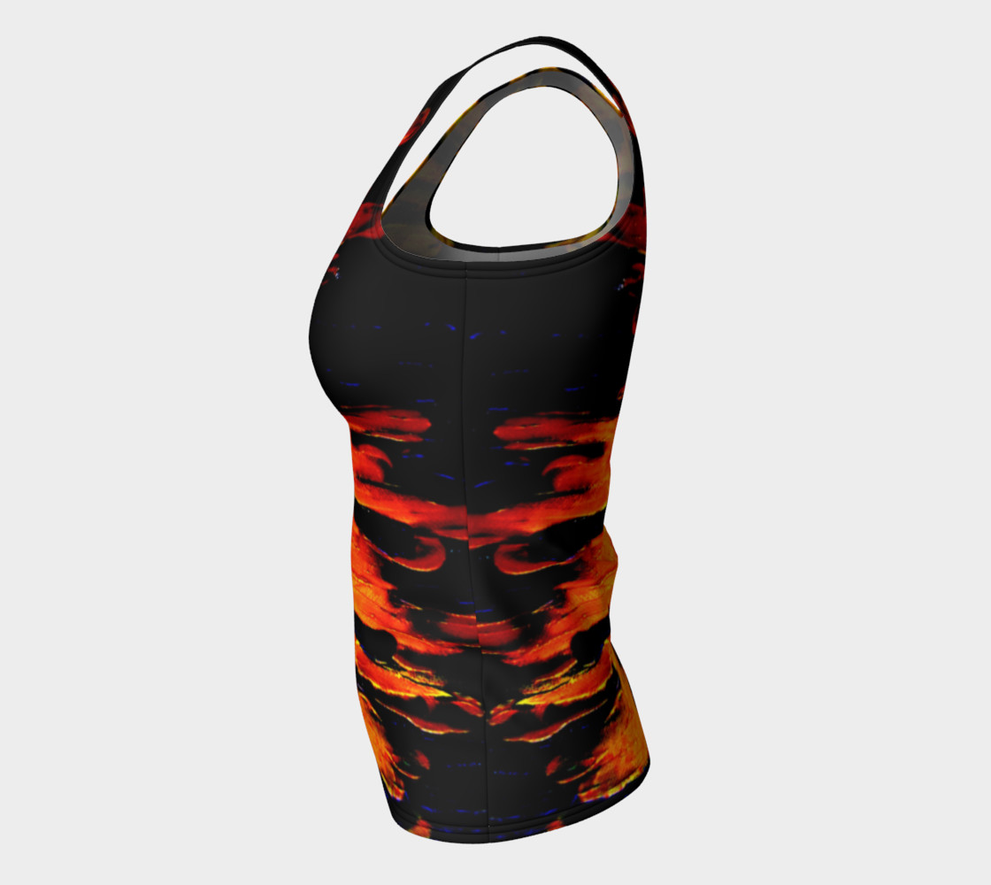 Lava in Black and Orange Fitted Tank Top thumbnail #8