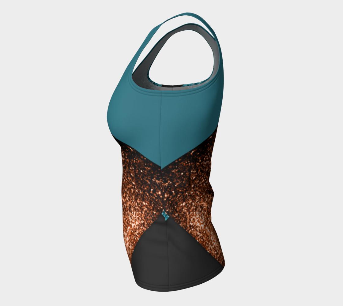 Aqua blue and bronze sparkles modern color block preview #7