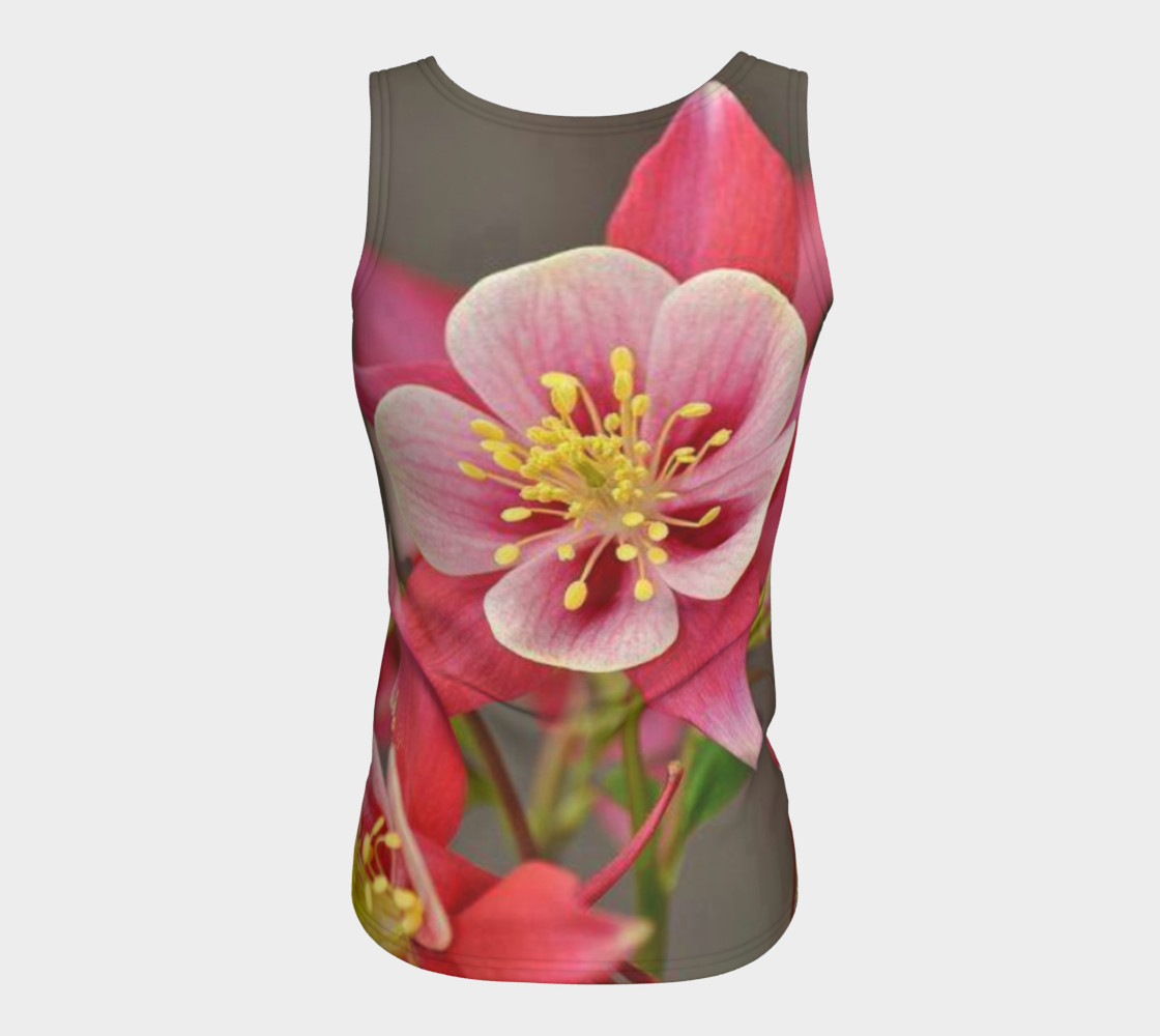 Red Fire Flowers, Fitted Tank Top preview #6