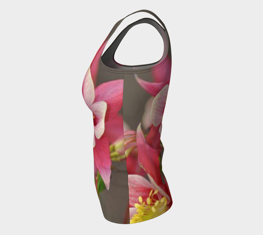 Red Fire Flowers, Fitted Tank Top preview #7