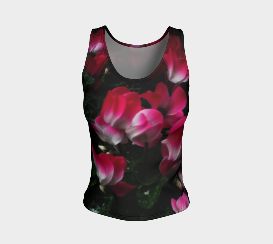 Red Fire Flowers, Fitted Tank Top preview #1