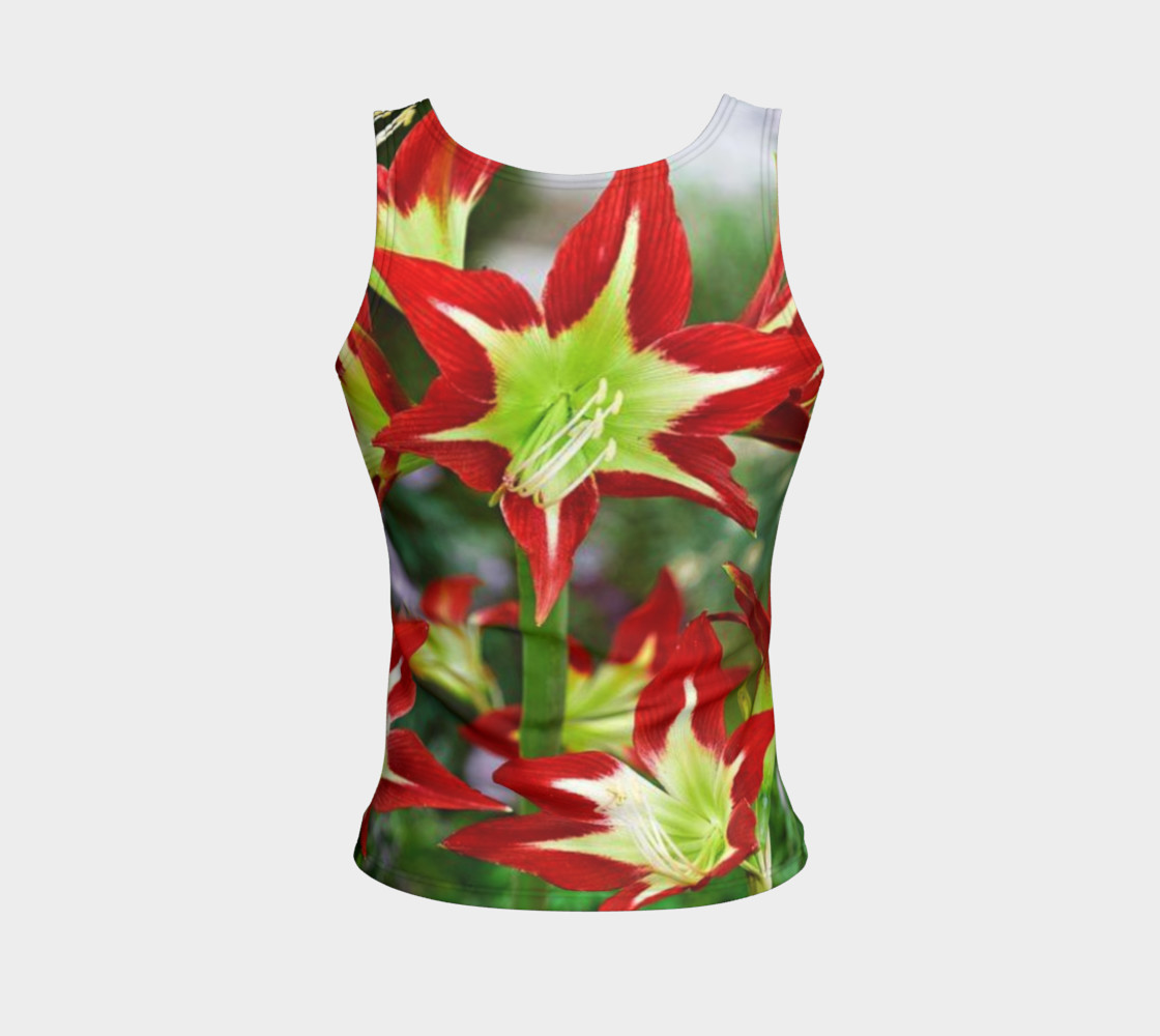 Lovely amaryllis fire chic, on fitted tank top preview #2