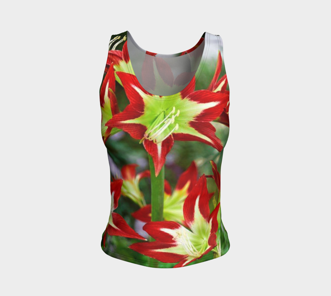 Lovely amaryllis fire chic, on fitted tank top preview #1