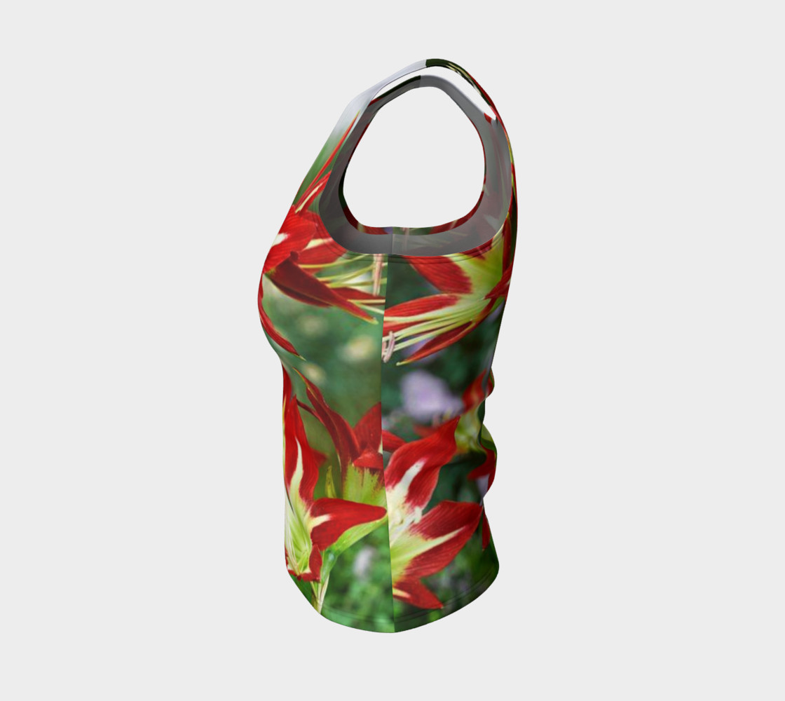 Lovely amaryllis fire chic, on fitted tank top preview #3