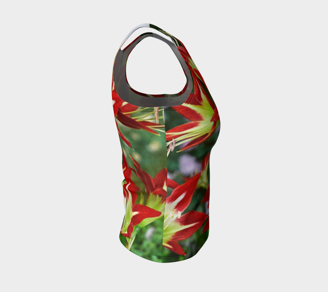 Lovely amaryllis fire chic, on fitted tank top preview #4