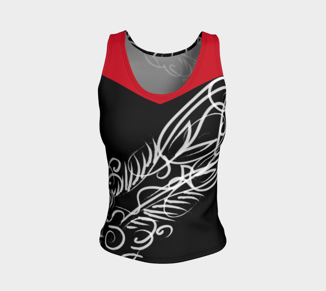 Scroll Black Red Fitted Tank preview #1
