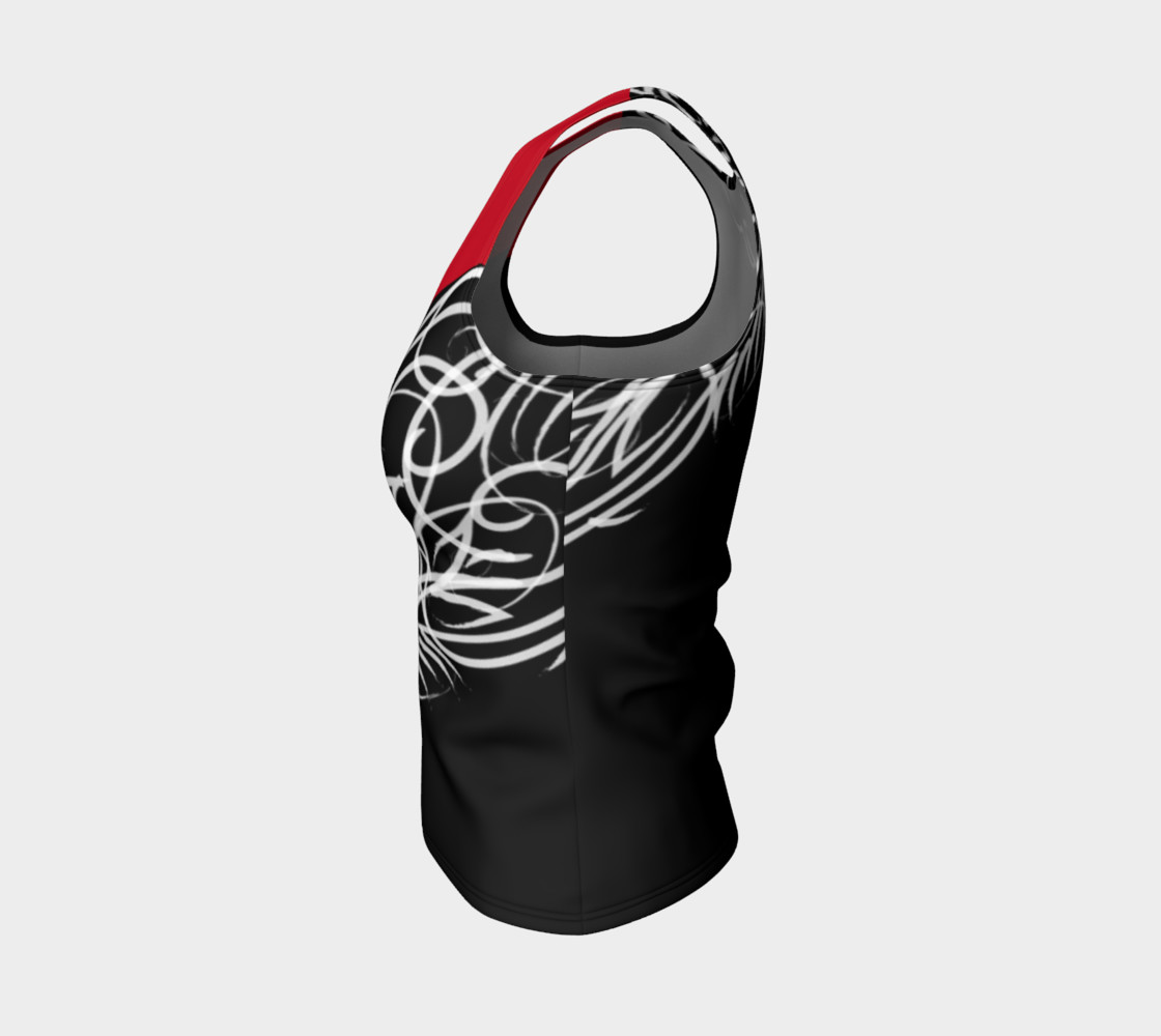 Scroll Black Red Fitted Tank preview #3