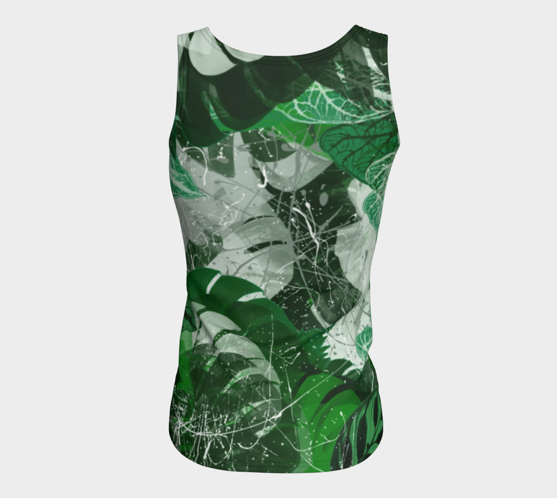 Tropical leaves Fitted Tank Top Miniature #7