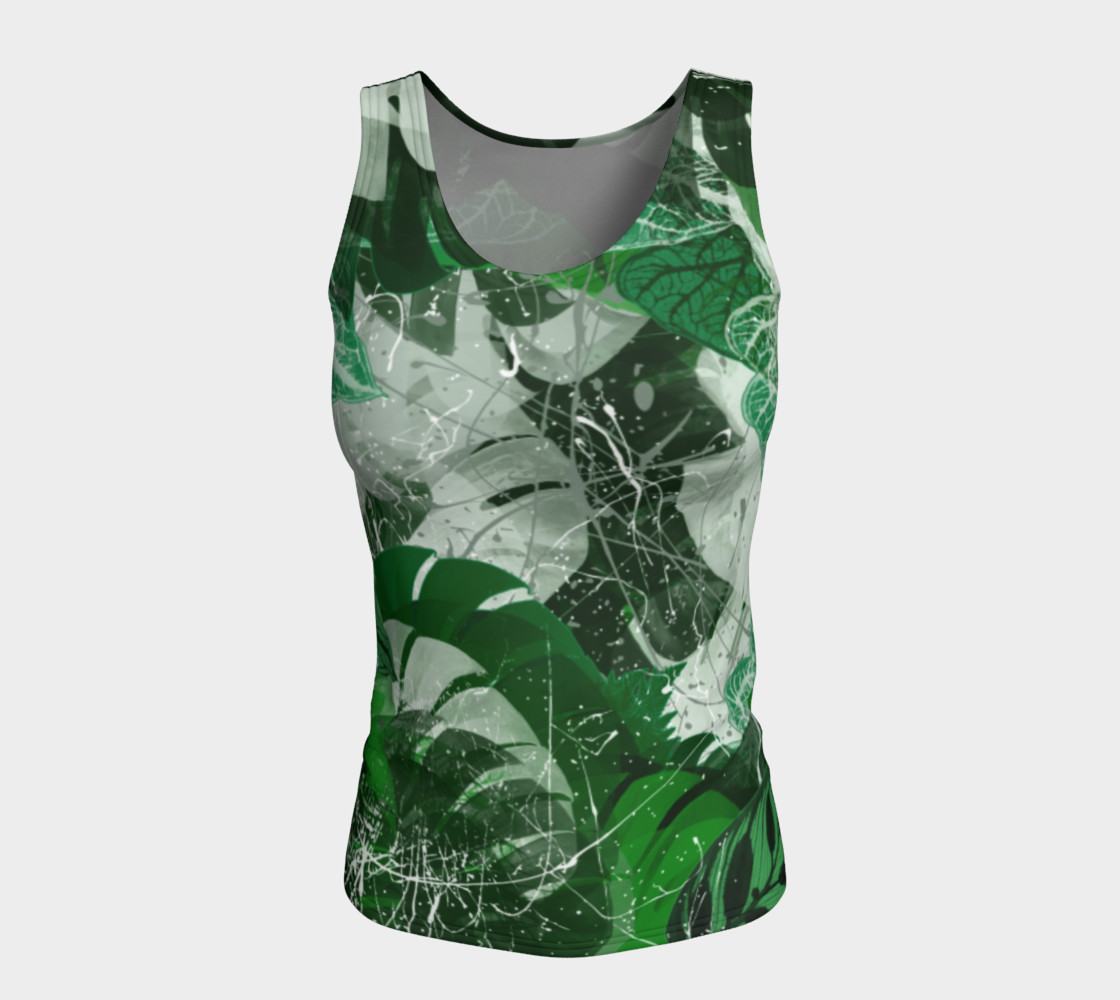 Tropical leaves Fitted Tank Top Miniature #6