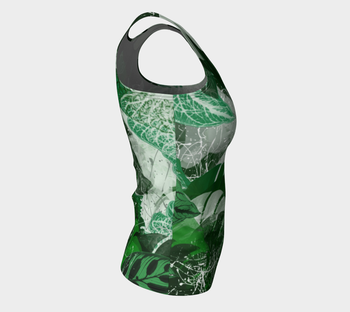 Tropical leaves Fitted Tank Top Miniature #9