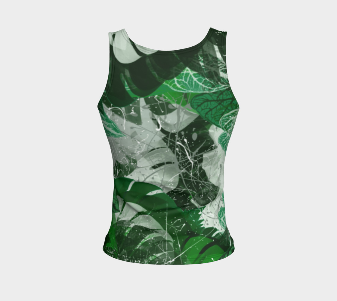 Tropical leaves Fitted Tank Top Miniature #3