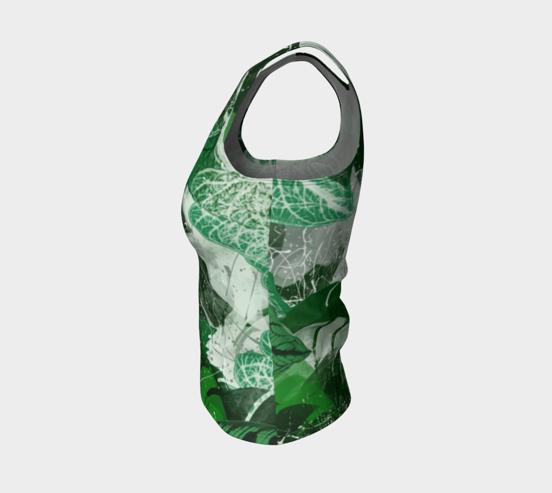 Tropical leaves Fitted Tank Top Miniature #4