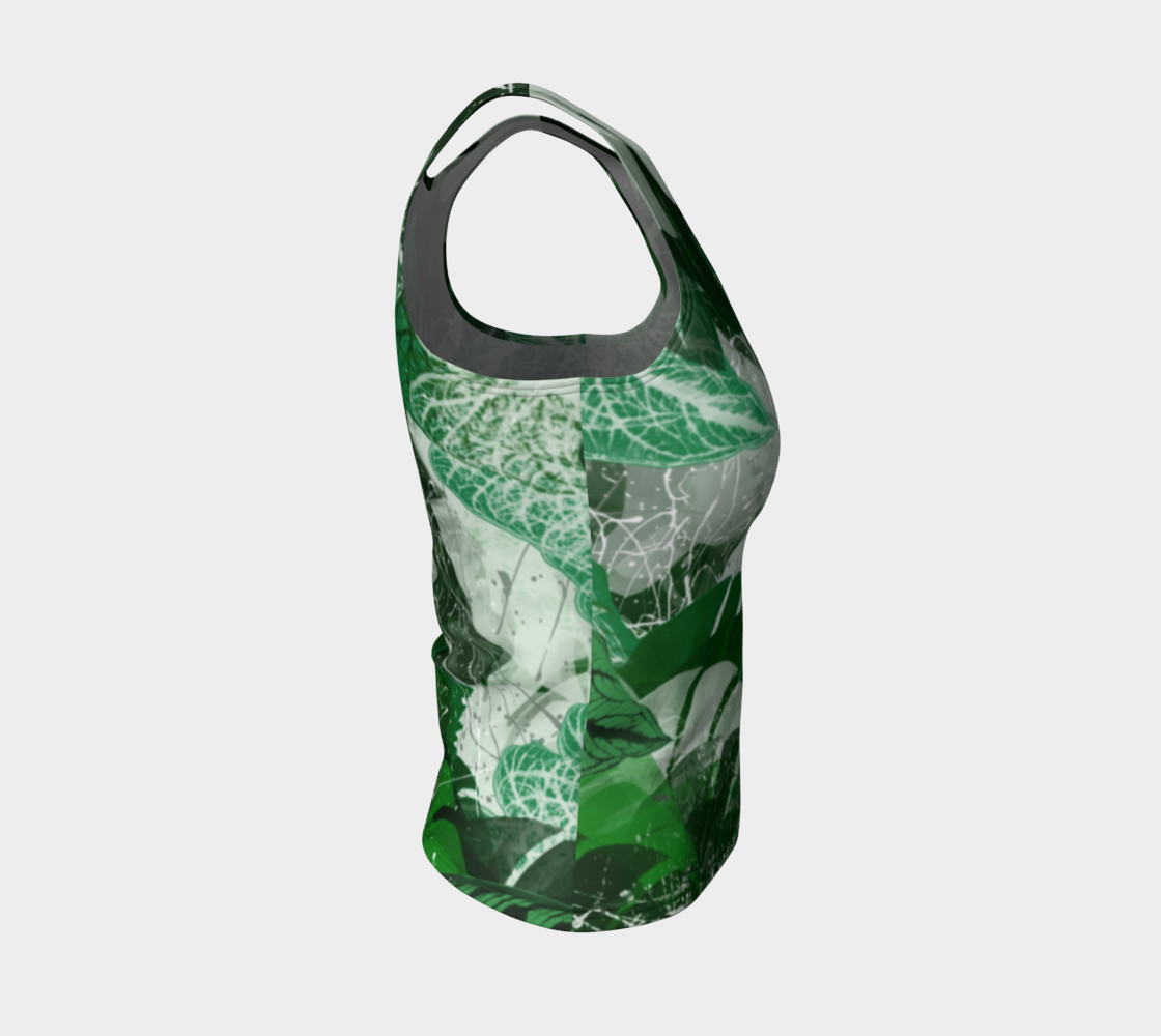 Tropical leaves Fitted Tank Top Miniature #5