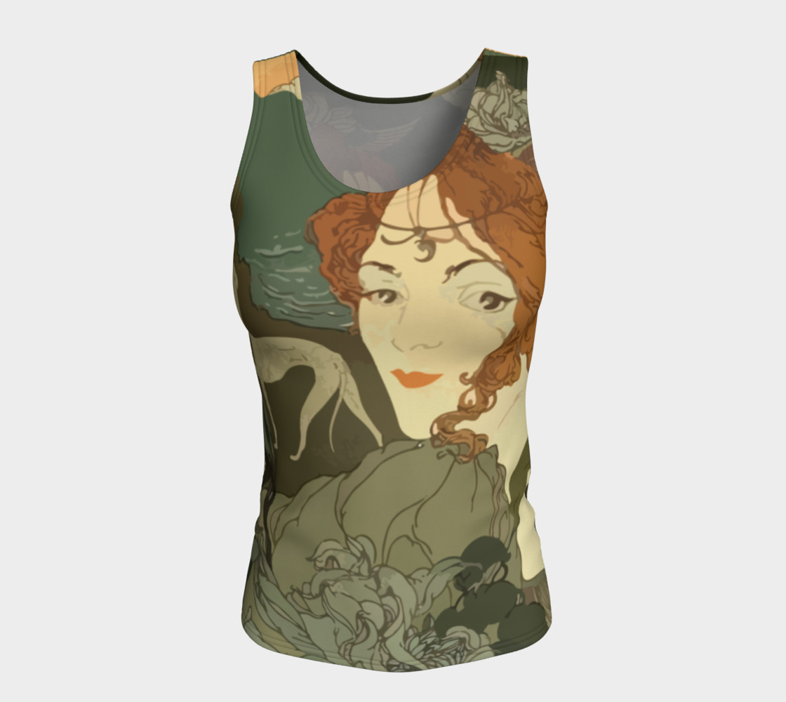 Art Nouveau lady Fitted Tank Top preview #5