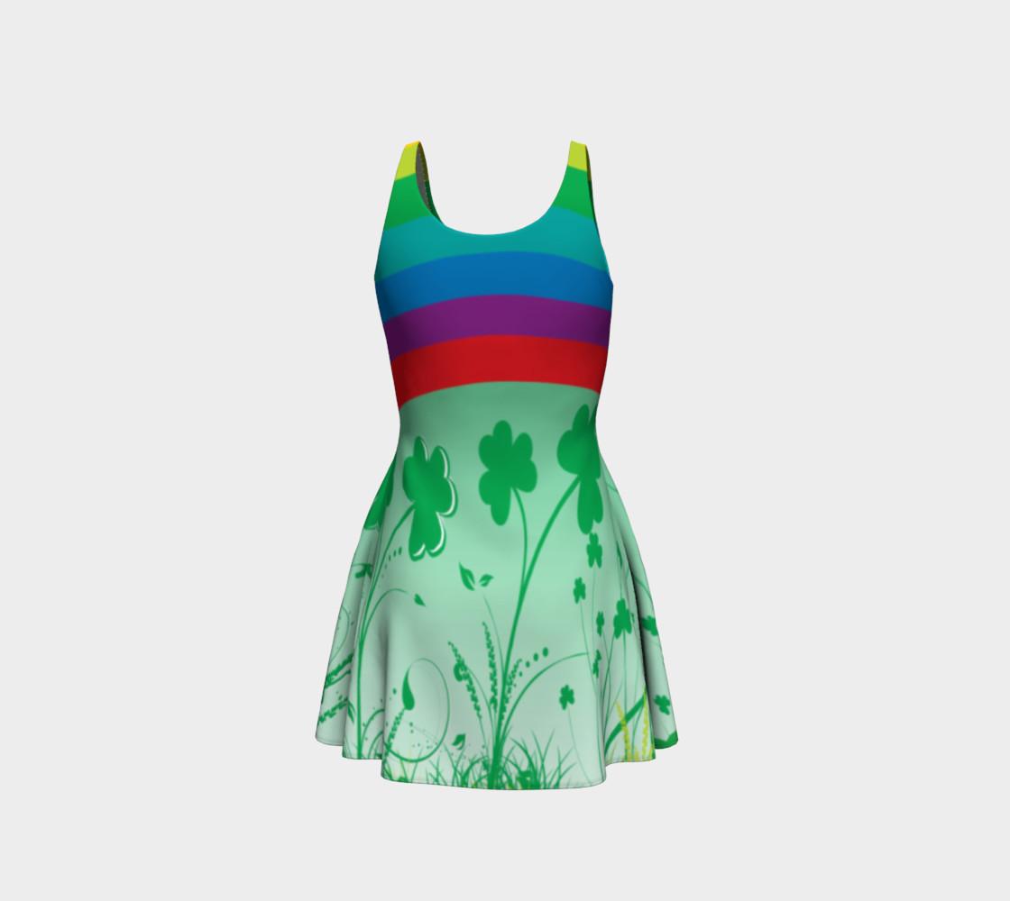 St. Patrick's day dress, Clover dress, shamrock dress, rainbow dress, lucky dress, Clover rainbow dress preview #3