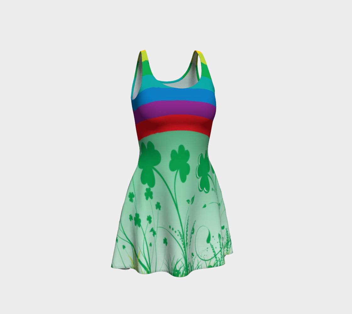 St. Patrick's day dress, Clover dress, shamrock dress, rainbow dress, lucky dress, Clover rainbow dress preview #1
