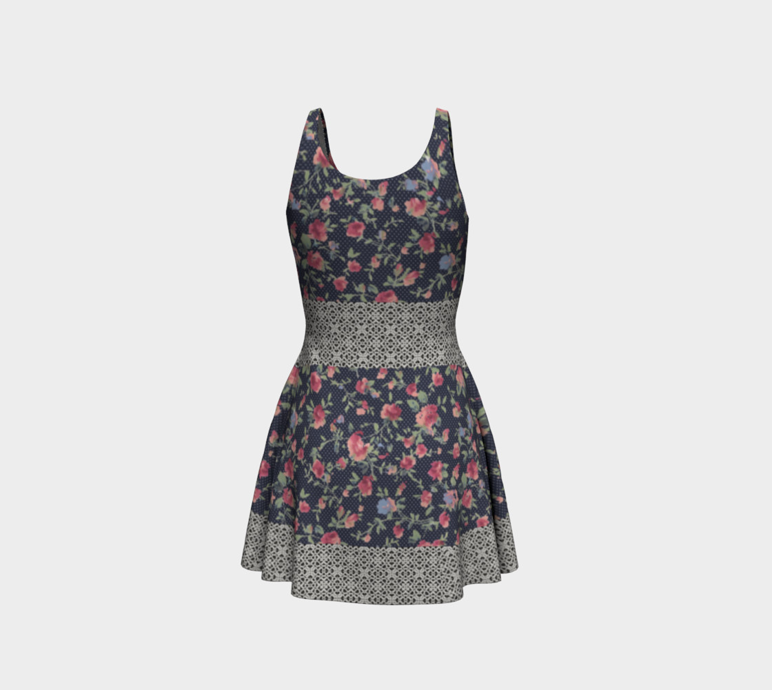 Vintage Floral and Lace Flare Dress preview #3