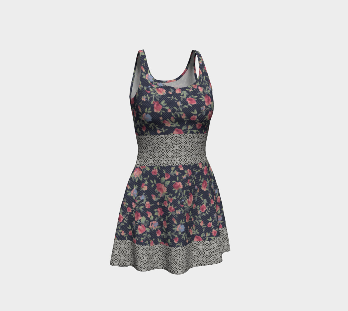 Vintage Floral and Lace Flare Dress preview #1
