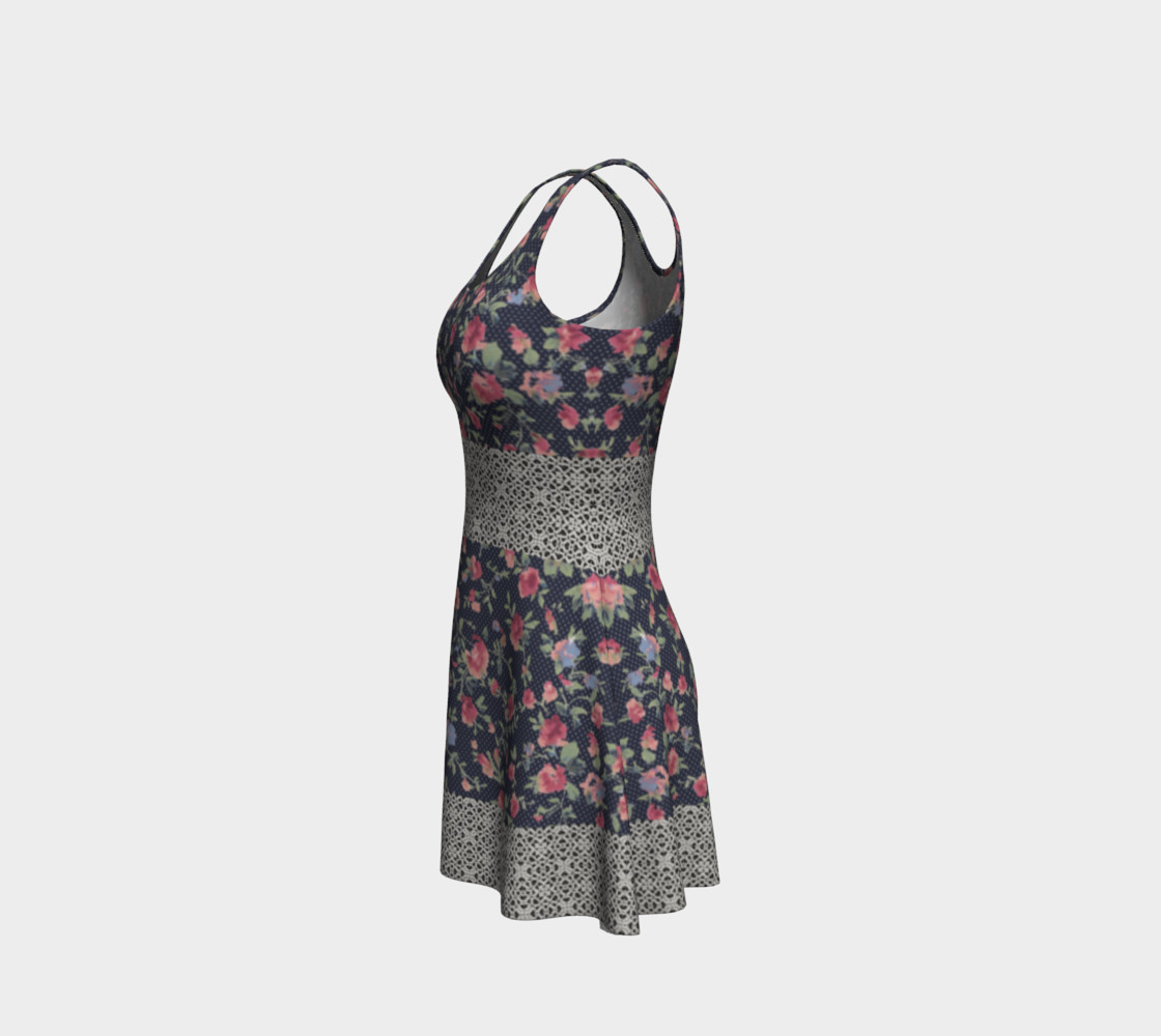 Vintage Floral and Lace Flare Dress preview #2