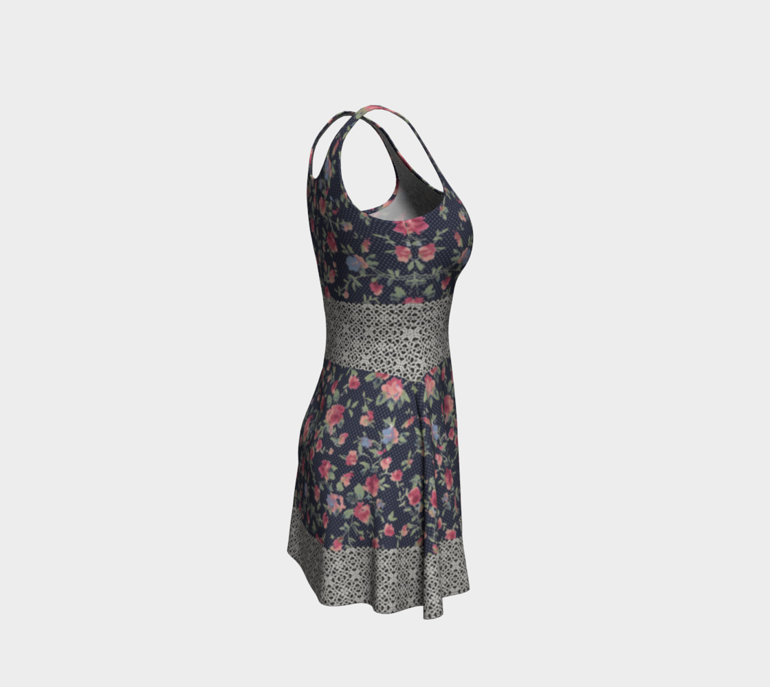 Vintage Floral and Lace Flare Dress preview #4