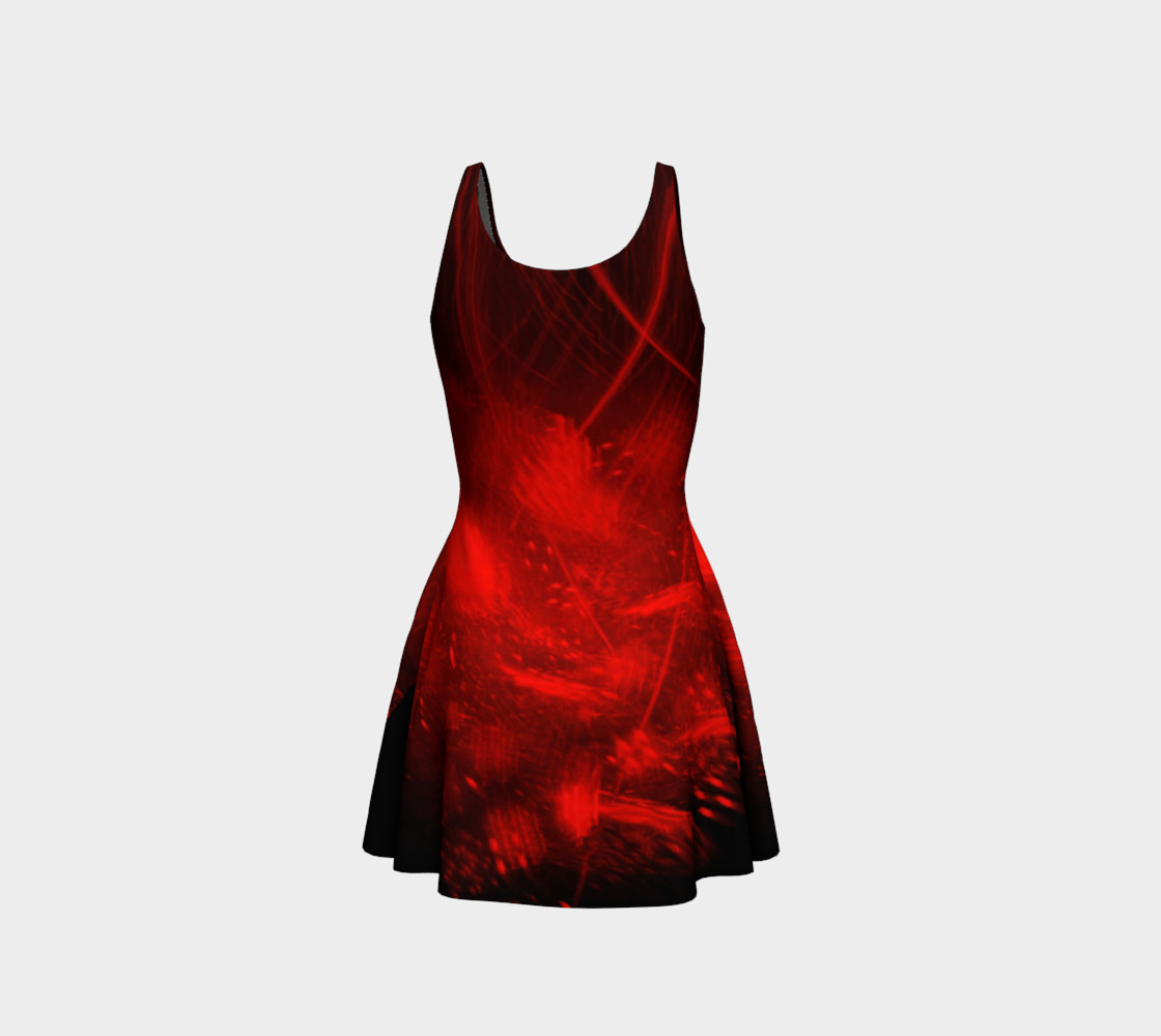 Red burst flare dress preview #3