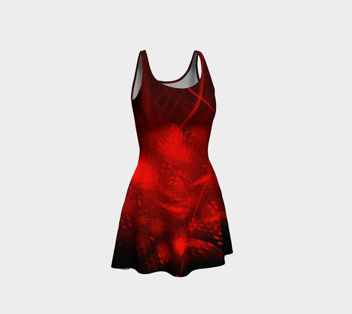 Red burst flare dress preview #1