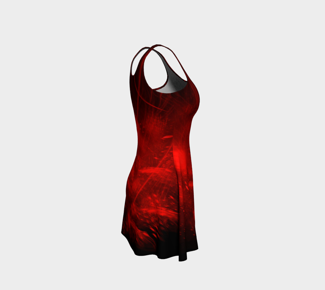Red burst flare dress preview #4