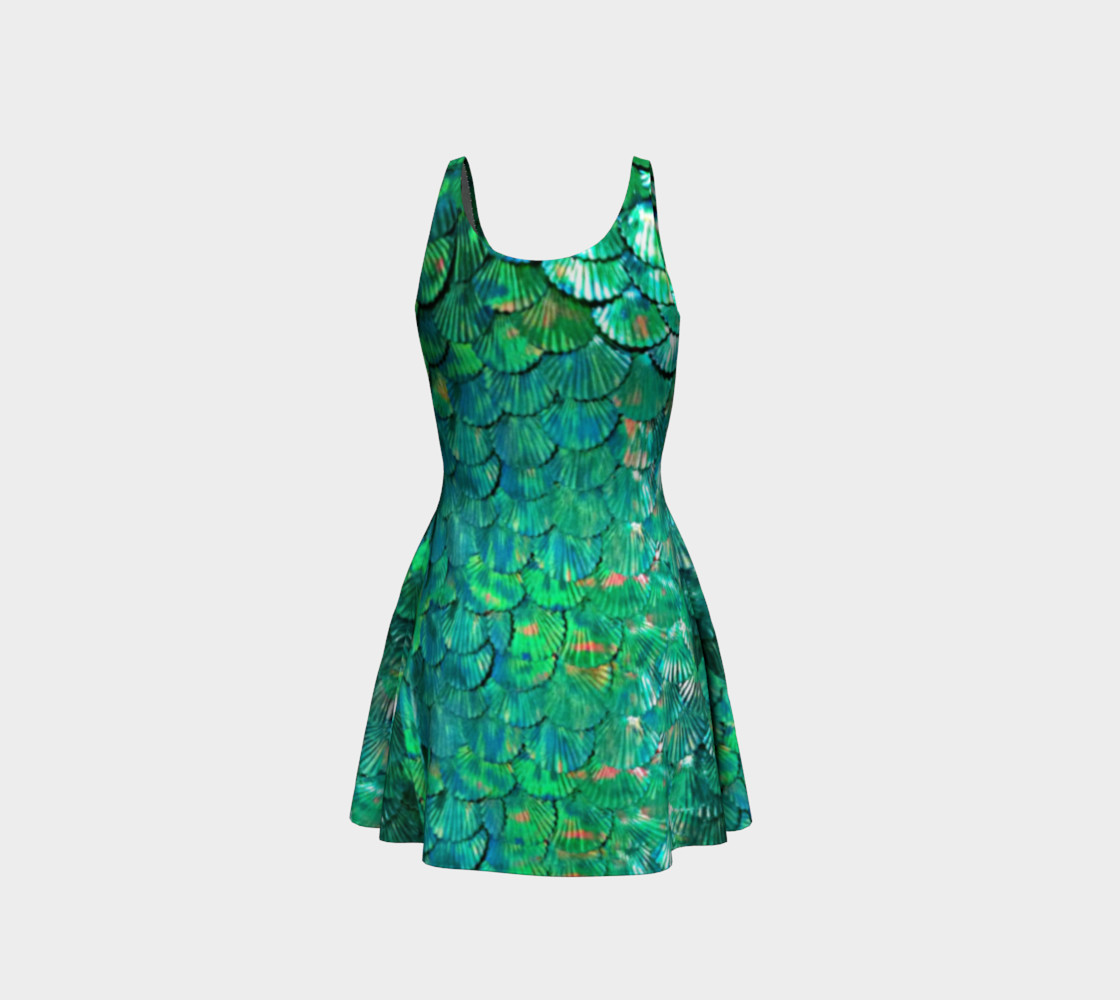 Mermaid Large-Scale Green Flare Dress  preview #3