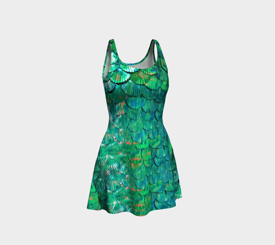 Mermaid Large-Scale Green Flare Dress  preview #1